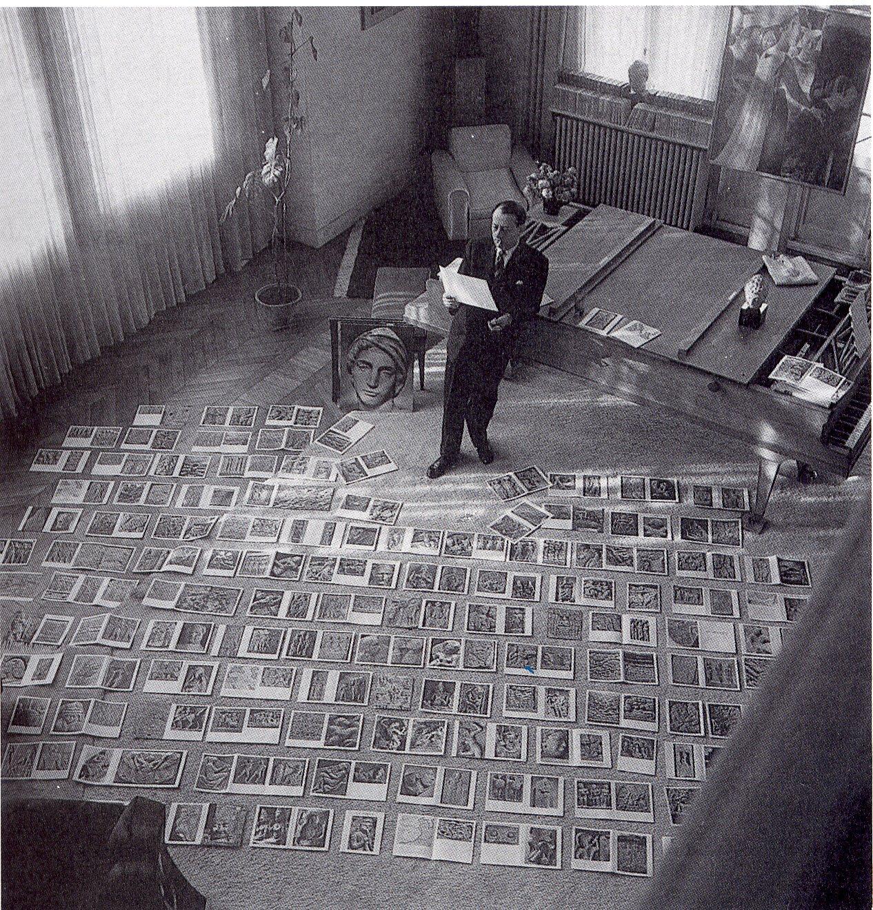 André Malraux treballa en el seu museu imaginari escampat a terra